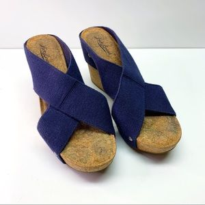 Lucky Brand Cork Wedge Blue Elastic Strap
